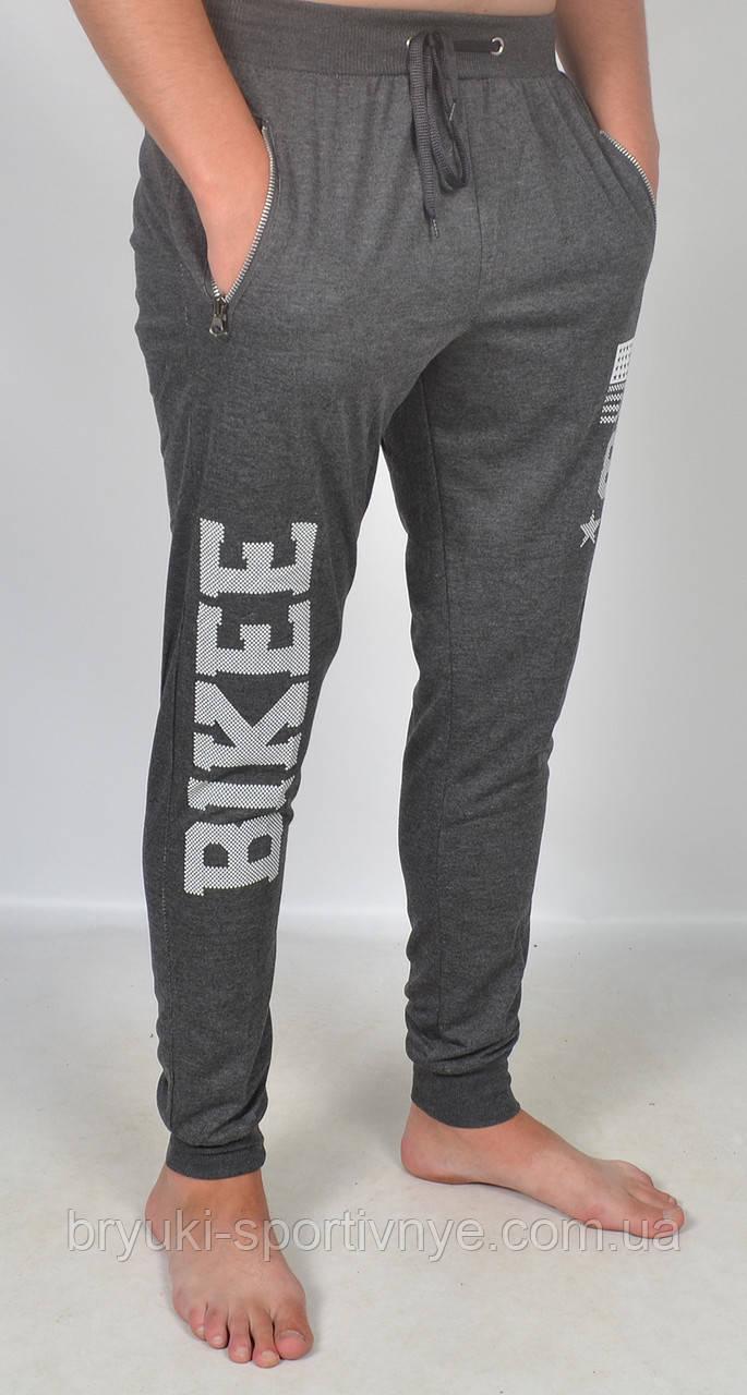 Штаны спортивные мужские под манжет с принтом M черный
