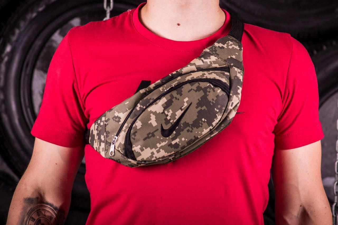 Поясная сумка Nike, черная нашивка , цвет - пиксель, фото 1