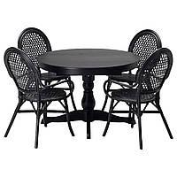 INGATORP /ALMSTA Стол и 4 стула, черный, ротанг черный