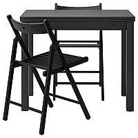 BJURSTA /ТЕРЬЕ Стол и 2 стула, brazowoczarny, черный