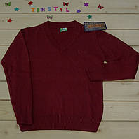 Вязаный джемпер  на мальчика бордовый на рост 110-140 см, фото 1