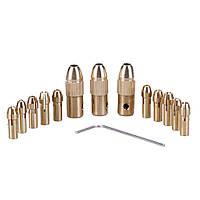 Патроны цанговые на вал 2 мм. - 3.2 мм зажим 0.5 мм. - 3.2 мм. + 10 цанг + ключ. Для  мини дрели