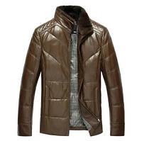 Мужская кожаная куртка со съемным меховым воротником. Модель 6306