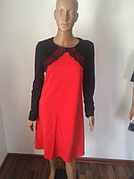 Платье красное кружевные рукава