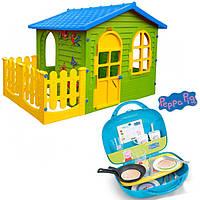 Детский домик с заборчиком + кухня с чемоданчиком Свинка Пеппа
