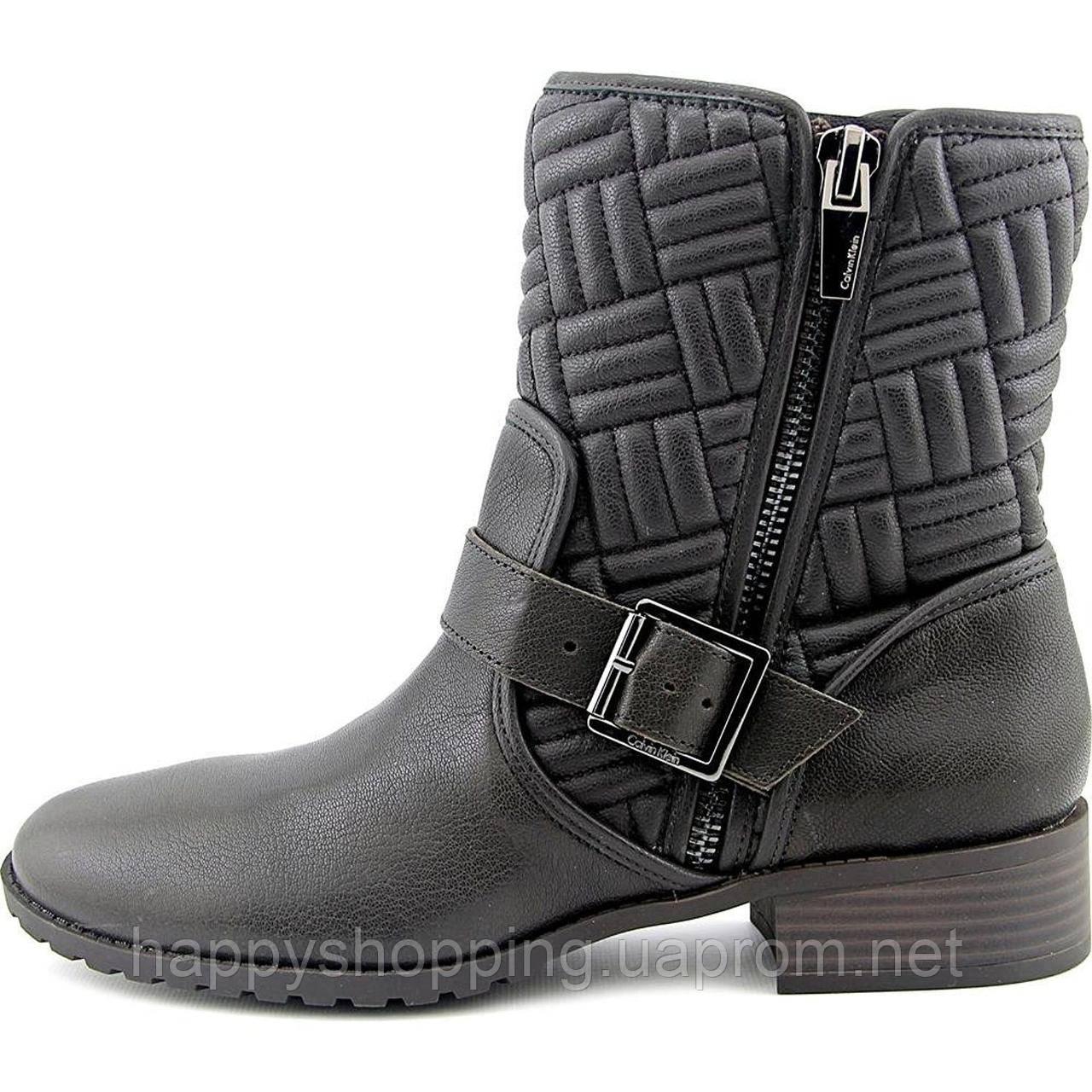 ... Женские стильные темно-коричневые демисезонные ботинки Calvin Klein  натуральная кожа оригинал fff357736e578