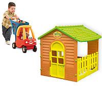 Детский домик и тележка для продуктов с коляской