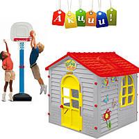 Детский домик серый Лесной + Баскетбольная стойка