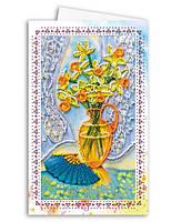 Набор для вышивки бисером «Открытка-конверт» Натюрморт с веером