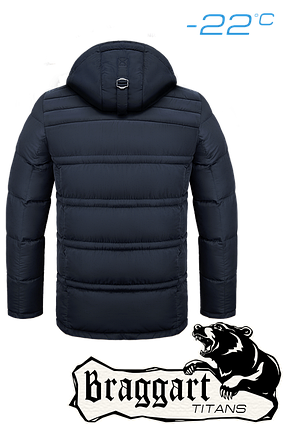 Мужская темно-синяя зимняя куртка батал (р. 56-60) арт. 4065, фото 2