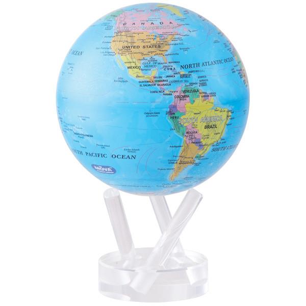"""Глобус самовращающийся левитирующий Mova Globe """"Политическая карта"""", голубой, диаметр 114 мм (США)"""