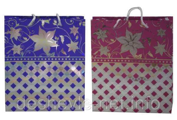 Пакет картонный (20,5х24,5х8,5см с фольгой 2 цвета), фото 2
