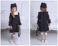 Детское красивое платье в английском стиле с кружевом 912 / черное