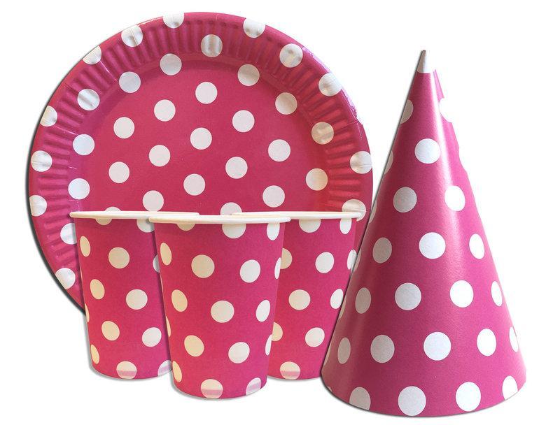 """Набор для Дня рождения """"Горошек"""" розовый. Тарелки, стаканчики и колпачки по 10 шт."""