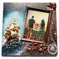 """Морская фоторамка """"Я люблю моряка""""  ручной работы.  Сувениры в морском стиле"""