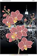 """Схема для частичной вышивки бисером 58х41см  """"Орхидея и ночной город"""""""