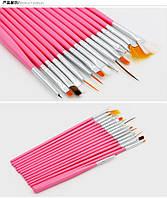 Розовые кисточки для маникюра набор, 15 шт