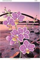 """Схема для частичной вышивки бисером 58х41см  """"Орхидея и мост"""""""