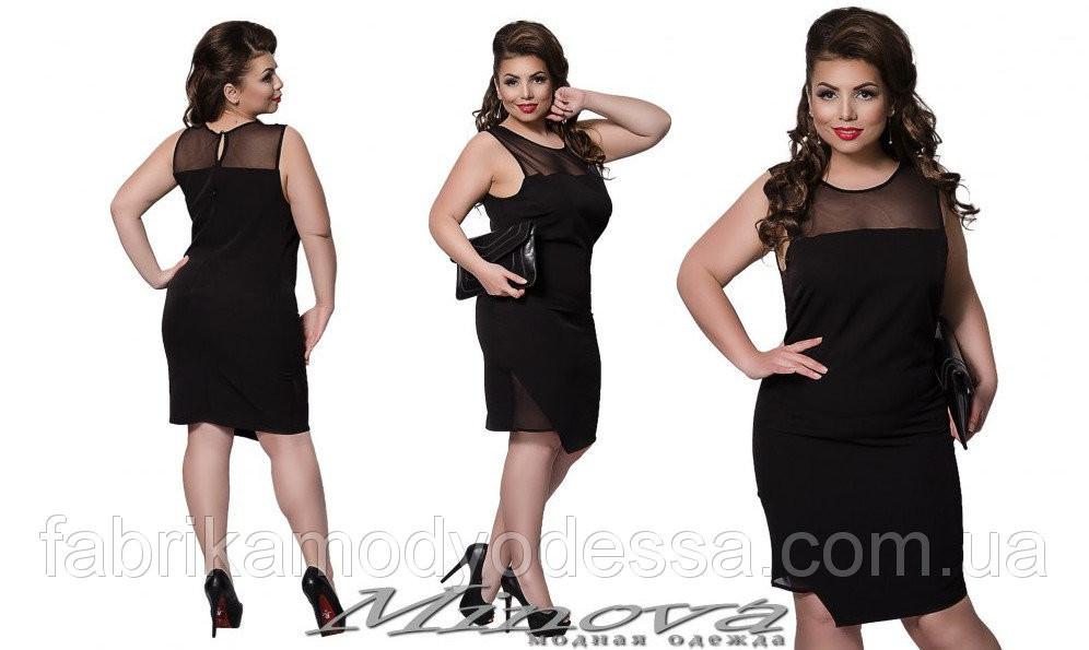 """Шикарное классическое женское платье с вставками из сеточки """"хлопок+стрейч""""  48, 52 размеры баталы"""
