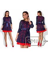 """Шикарное женское платье с кружевом """" С шифоновым воланом"""" пояс в комплекте 48, 50, 54 размер батал"""