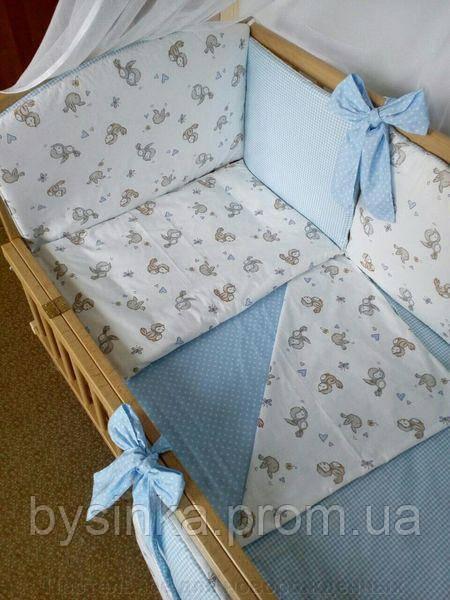 """Детское постельное белье с бортиками подушечками в кроватку новорожденного- """"Сладкий сон"""" 7 ед. Птички"""