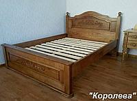 """Кровать деревянная с резьбой """"Королева"""" (200*160) массив - дуб."""