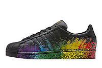 Кожанные мужские кроссовки Adidas Originals Superstar Pride Black Splash