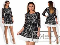 """Шикарное женское платье с кружевом """" С шифоновым воланом"""" пояс в комплекте 54 размер батал"""