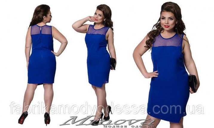 """Красивое классическое женское платье с вставками из сеточки """"хлопок+стрейч""""  48, 50  размеры баталы, фото 2"""