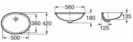 Умывальник врезной 56*42 см ROCA BERNA (327871001), фото 2