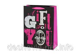 Пакет картонный GIFT FOR YOU (19,6х24,5х8,8 см с фольгой )