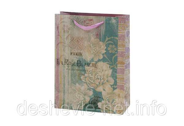 Картонний Пакет LA ROSSE BLANCHE 19,6х24,5х8,8см з глитером, фото 2