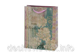Пакет картонный LA ROSE BLANCHE  (26,6х35х11,4см с глитером с 2-х сторон)