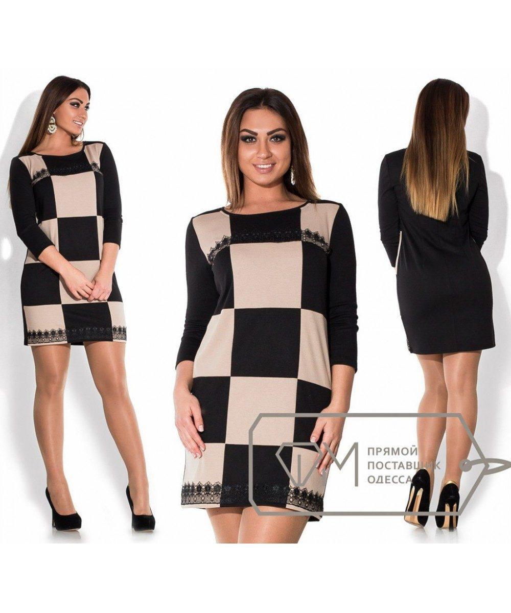 """Стильное женское платье с гипюром """"Французский трикотаж""""  52 размер баталы"""