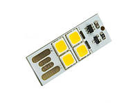 Радиоконструктор USB фонарик-плата(белая) 4LED 5050 теплый свет с сенсором