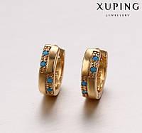 Серьги Позолота 18к колечки с голубыми камнями