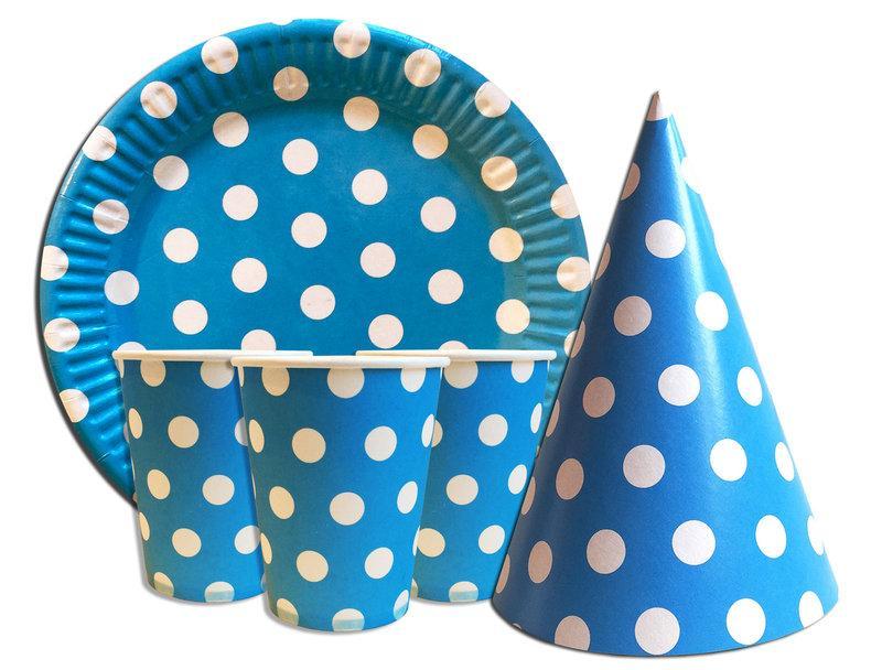 """Набор для дня рождения """"Горошек"""" голубой. Тарелки, стаканчики и колпачки по 10 шт."""