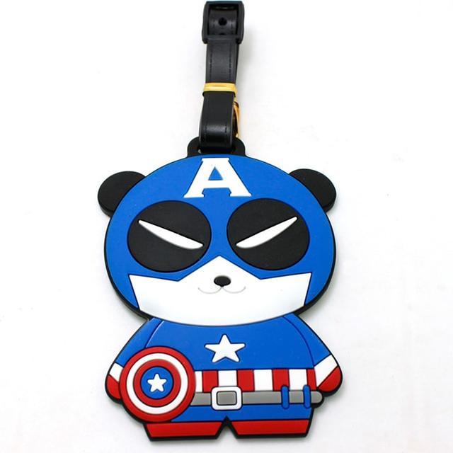 Бирка на рюкзак Панда Капитан Америка