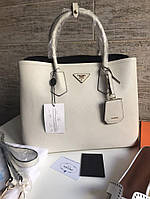 Женская сумка PRADA cuir double bag белая