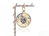 Подвеска золотая Рак с рисунком версаче и алмазной гранью