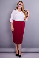Симона. Стильная юбка в деловом стиле super size. Терракот.