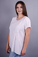 Джулия. Красивая футболка супер батал. Белый.