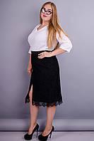 Рита. Стильная юбка супер сайз. Черный.