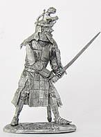 Оловянная миниатюра. Оловянный солдатик. Рыцарь Жак Лоучард 1350 г.