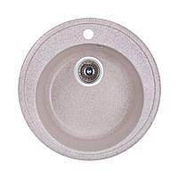 Мойка гранитная круглая диаметр 51 см глубина 17,5 см Fosto песочный гранит (300) Бесплатная доставка