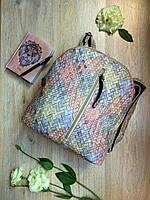 Шикарный женский плетеный мини-рюкзак нежного цвета