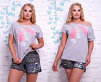 Женская модная футболка с перьями (3 цвета)