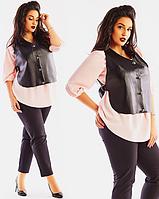 Стильный женский брючный костюм тройка рубашка с жилеткой  большого размера  + цвета