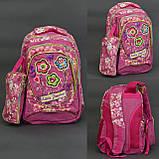 Рюкзак школьный , ткань-ЛЁН,4 вида, 3 отделения, пенал, ортопедическая спинка, фото 2