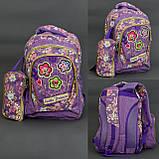 Рюкзак школьный , ткань-ЛЁН,4 вида, 3 отделения, пенал, ортопедическая спинка, фото 3